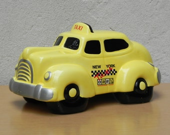 Ceramic Yellow 1980s New York City Taxi Coin Bank