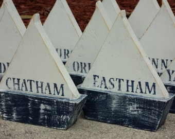 """Petite 6""""-7"""" Free Standing Wooden Sail Boat, Beach Wedding, Wedding Table Numbers, Nautical Event"""