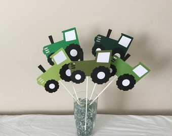 5 Piece Green Tractor Centerpieces Farm Decorations
