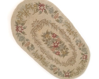 Vintage Hooked Wool Oval Rug 2' x 4' Circa 1947 - Shabby Cottage Chic
