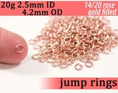 20g 2.5mm ID 4.2mm OD rose gold filled jump rings -- 20g2.50 pink goldfill jumprings 14k goldfilled jewelry supplies findings