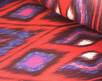 Red Blue Pink Ikat on White Stretch Twill Fabric