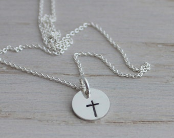 tiny token design stamp necklace | cross necklace | simple necklace | minimalist jewelry | tiny charm necklace | delicate necklace