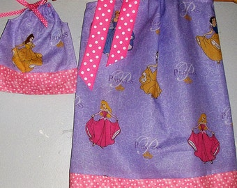 Disney Princess Sparkly Purple  pillowcase dress&matching American Girl doll dress size 12,18 months 2t,3t,4t,5t,6,7,8,9,10.12