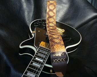 "Handmade Leather Guitar Strap. ""Native""."