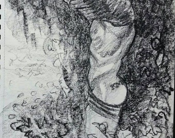 Pretty Man Stripping in the Woods, crayon on white paper  8 and a half x 11 inches by Kenney Mencher