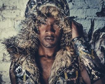 Tribal Warrior Sequin Vest with Faux Fur- Multiple Colors- Burning Man Festival Coat