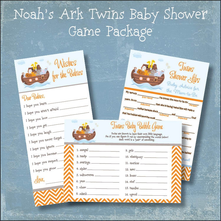 twins baby shower game package noah 39 s ark printable shower