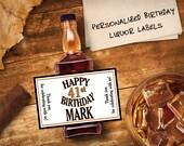 Custom Mini Bottle Labels Birthday Favors Adult Guys 21 30 40 50 60th Birthday Celebration Thank You Happy Birthday Whiskey Gifts EB-1055