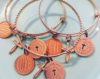 Rose Gold Bangle with charms