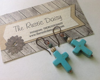 Southwestern Style Turquoise Cross Earrings- Inspirational Jewelry-Boho-Stone Cross