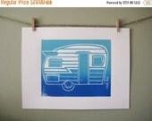 Original hand pulled block print of Retro Camper in Blue and Aqua