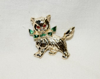 Vintage Gold Tone Red Rhinestone Cat Kitten Kitty Brooch Pin - 1 3/4""