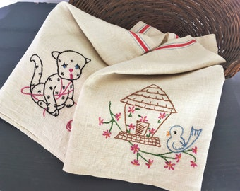 Vintage Linen Towel Embroidered Bluebird Kitten Red Stripe Antique Handmade Pair
