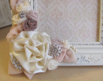 Blush Bouquet Picture Frame/ Ivory Vintage Like Picture Frame/ Wedding Decorations/ Wedding Table/ Bridal Party/ Picture Frame