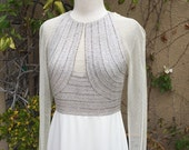 1980s 1990s custom made haute couture mesh sheer beaded cream party cocktail wedding gown size XS