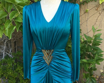 1980s does 1930s vintage new old stock teal beaded cocktail ruched draped  dress by New Leaf Samir size XS S