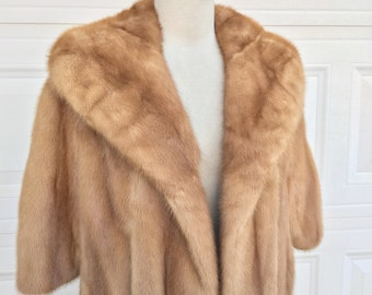 1950s 1960s blond mink stole glamour mad man cocktail coat size S
