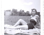 Vintage Photograph - Girl in Bathing Suit - Vintage Photo, Ephemera, Vernacular, Snapshot, Found Photo (C)