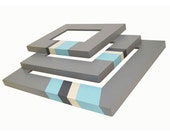 Picture Frame Picture Frame Set Color Block Aqua Turquoise Blue Gray Modern Minimal Neutral Wall Decor Home Decor Mid Century Geometric