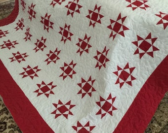 Quilt Ohio Star RED and WHITE Small Block Red Border Queen Made to Order