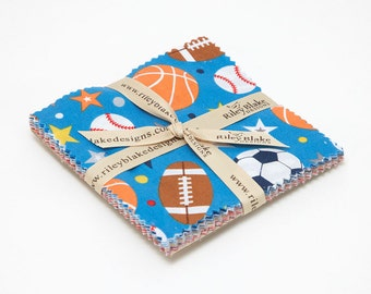 "Play Ball 2 5"" Squares Charm Pack by Lori Whitlock for Riley Blake, 42 pieces"