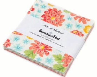 "Summerfest 5"" Squares Charm Pack by April Rosenthal for Moda, 42 pieces"
