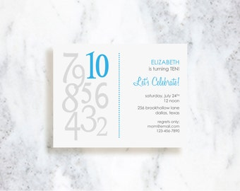 Mixed Numbers Birthday Invitations