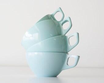 Vintage Mid Century Modern Aqua Melamine Cups + Sugar & Creamer