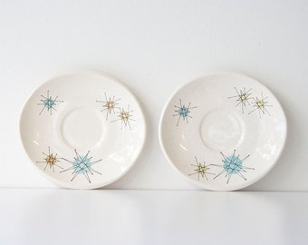 Vintage Atomic Franciscan Starburst Mid Century Modern Saucers