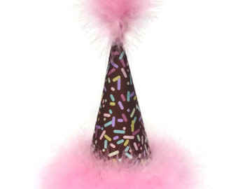 Dog Birthday Hat, Party Hat, Chocolate with Sprinkles Birthday Hat, Cat Birthday Hat