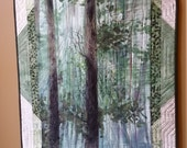 Art Quilt, Forest  Wall Hanging in Greens, and Creams, Quilted Fiber Art, Tree Quilt, One of a Kind, Wall Banner, Quiltsy Handmade