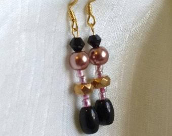 Earrings -Czech Glass and Black Acrylic Beaded