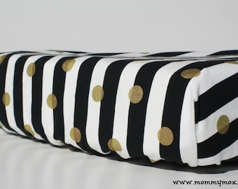 Black White Stripes with Gold Dots Changing Pad Cover- for Your Trendy Modern Nursery - by Mommy Moxie on Etsy