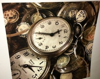 Original 8 by 8 photo on 14 by 14 paper pocket watches time collections series