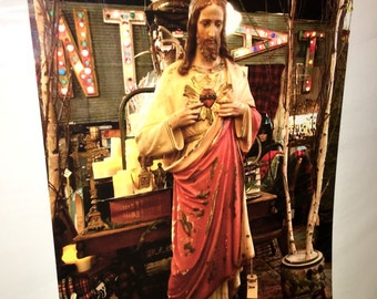Original 9 by 12 photo on 15 by 18 jesus art Jesus statue