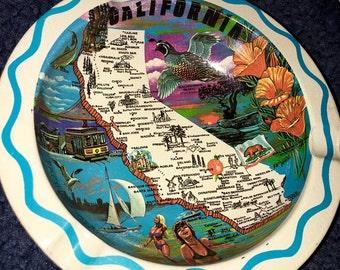 Vintage metal California map souvenir ashtray ash tray