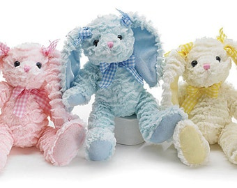 Personalized Chenille Super Soft Plush Pink, Blue or Yellow Bunny Free Shipping