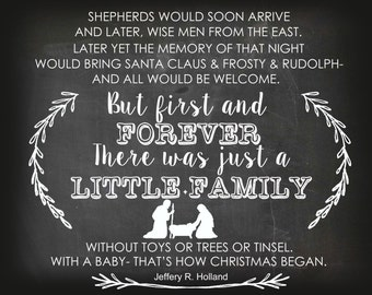 Just a Little Family Christmas Chalkboard Printable 8x10