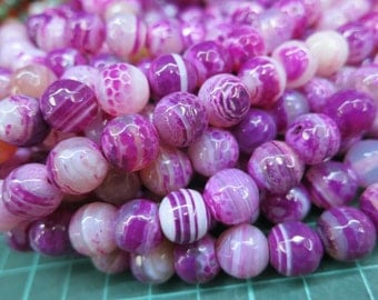 5 str (190pcs beads) -White Violet Stripe Agate 10mm Round Beads faceted