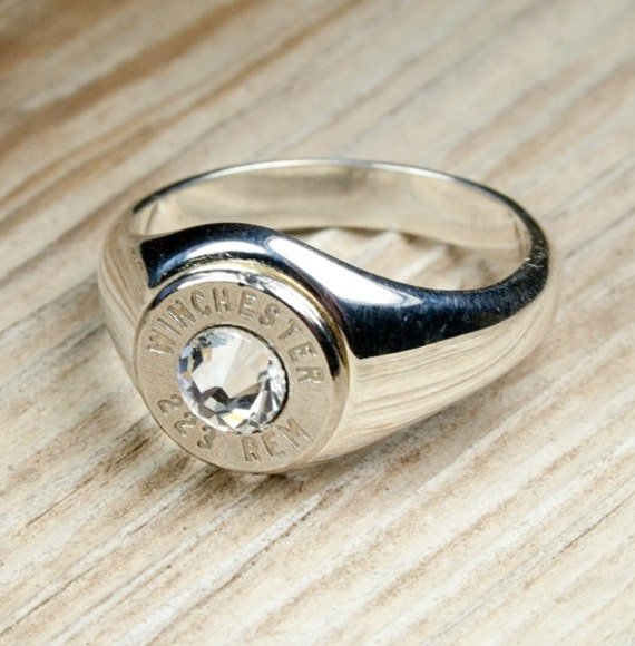 Bullet Ring, Winchester Solid .925 Sterling Silver Band Nickel Bullet Women's Ring WIN-#-N-WSTER, Sterling Bullet Ring, Custom Bullet Ring