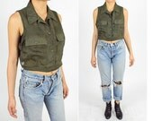 1990's GREEN SHEER Shirt. Crop Top Blouse.  90's GRUNGE Mod. Size L//Large