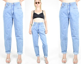 90's Blue STONEWASH DENIM High Rise Jeans size - Xs/S - Tapered Leg. 90's Mod Grunge MoM Jeans. Waist 26 - Leg 30 - 26x30