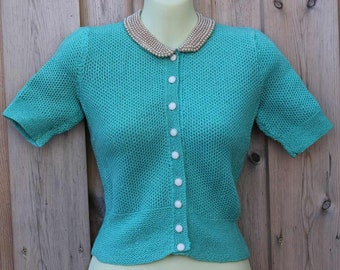 Turquoise handmade Sweater attached pearl collar plastic white and gold buttons 1950's fitted Peter Pan Collar knit crochet beaded size S