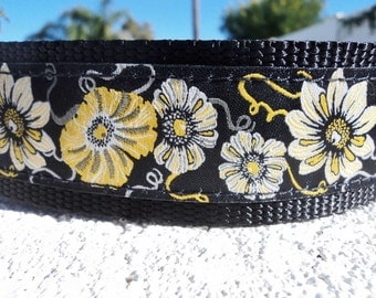 "Large Dog Collar 1.5"" wide Quick Release buckle Yellow Morning Glory - see 1"" listing within - upgrade to martingale"