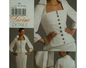 Divine Details Fitted Blouse Pattern, Square Neck, Button Front, 3/4 Sleeves, Lined Straight Skirt, Vogue No.8355 UNCUT Size 14 16 18 20