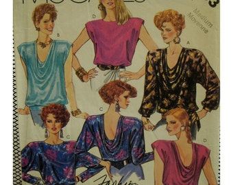 80s Drape Neck Top Pattern, Front/Back Drape, Sleeveless/Long Sleeves, Jewel Neck, Cuffs, Band, McCalls No. 2803 Size 6-8 OR 14-16 OR  22-24