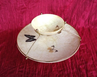 Vintage Mid-Century 2 Tiered Butterfly Serving Bowls Art-Line of California Fiberglass Butterfly Chip and Dip Serving Tray with Metal Frame