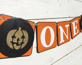 ONE Birthday Banner, first birthday, fall birthday, black orange gold, pumpkin banner, gold pumpkin, one banner, halloween birthday banner