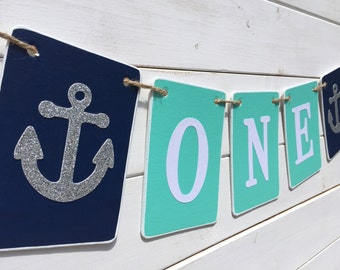 ONE Birthday Banner, Baby Boy Birthday, first birthday, teal navy silver, Nautical banner, Birthday Boy, First Birthday Party, anchors